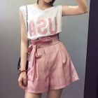 Set : Letter Sleeveless Top + Shorts 1596