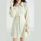 Button Detail Collared Long-Sleeve A-Line Dress 1596