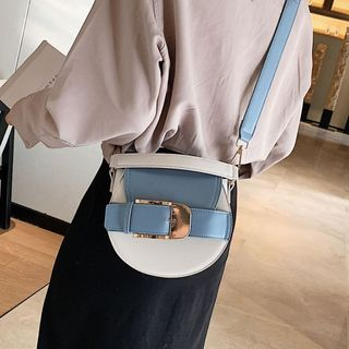 Image of Belted Two-Tone Faux Leather Saddle Crossbody Bag