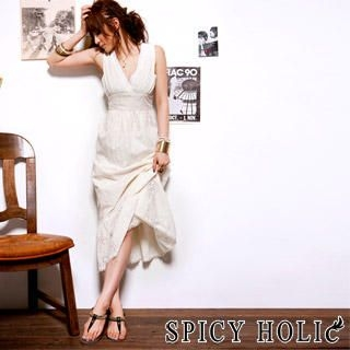 Picture of SPICY HOLIC Eyelet Lace V-Neck Maxi Dress Beige - One size 1023066141 (SPICY HOLIC Dresses, Womens Dresses, Taiwan Dresses)
