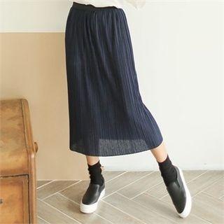 Band-Waist Long Pleated Skirt 1056971793