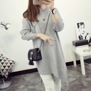 Asymmetrical Hem Rib Knit Tunic 1054023983