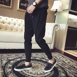 Drawstring Waist Plain Sweatpants