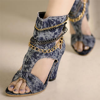 Buy Kvoll Chain Bleached Denim Cutout Heels 1023070211