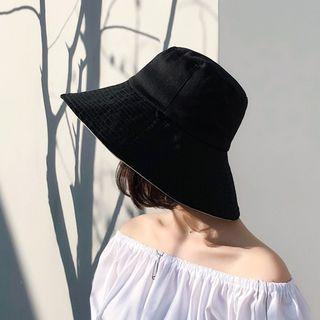 Bucket | Double | Beige | Black | Size | Hat | One