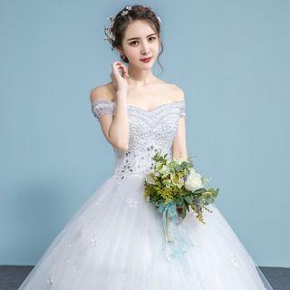 Image of Embellished Off-Shoulder Wedding Ball Gown