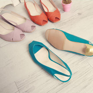 Buy KAWO Slingback Peep-Toe Kitten-Heels 1022909278