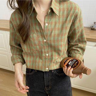 Long-sleeve   Green   Plaid   Shirt   Size   One