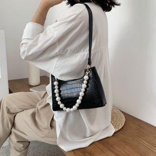 Image of Croc Grain Faux Pearl Strap Shoulder Bag
