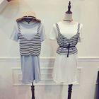 Set: Plain T-Shirt Dress + Striped V-Neck Tank Top 1596