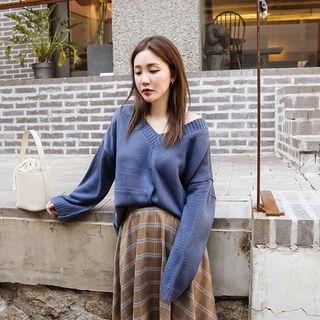 V-Neck Drop-Shoulder Knit Top 1062234451