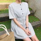 Short-Sleeve Stripe Mini Babydoll Dress 1596