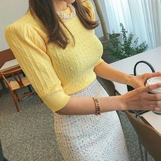 Elbow-Sleeve Cable-Knit Top 1064648664