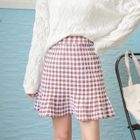 Pleated Check Knit Skirt 1596