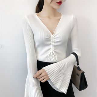 Image of Bell-Sleeve V-Neck Knit Drawstring Top