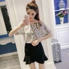 Set: Elbow-Sleeve Floral Top + Ruffle Skirt 1596