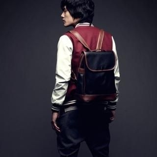 Picture of Portfranc Contrast-Trim Faux-Leather Backpack 1022433343 (Portfranc, Backpacks, Korea Bags, Mens Bags, Mens Backpacks)