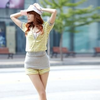 Buy MoDN Set: Striped Short-Sleeve Zip Hoodie + Striped Sweat Shorts 1022965488
