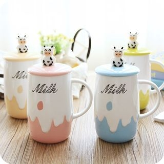 Printed Ceramic Mug with Cow Lid 1061395377