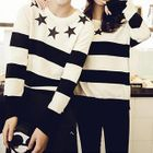 Striped & Star Print Knit Top 1596