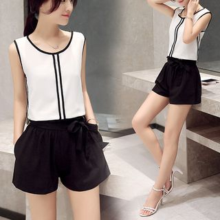 Set: Contrast Trim Tank Top + Band Waist Shorts 1052937118
