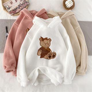 Long-sleeve Bear Applique Fleece Hoodie