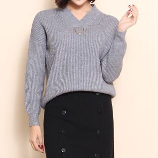 V-Neck Ribbed Sweater 1063889431