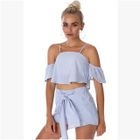Set: Short-Sleeve Cropped Top + Shorts 1596