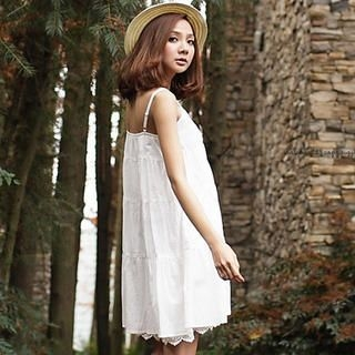 Crochet-Hem Sleeveless Buttoned Dress