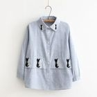 Embroidered Pinstriped Linen Cotton Long-Sleeve Blouse 1596