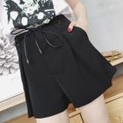Tie-Wasit Wide-Leg Plain Shorts 1596