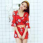 Set: Floral Top + Shorts + Bikini 1596