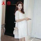 Maternity Short Sleeve Eyelet Lace Dress 1596