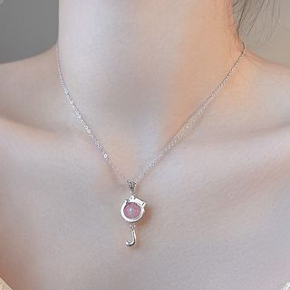 Image of 925 Sterling Silver Bead Cat Pendant Necklace 925 Silver - Pink - One Size