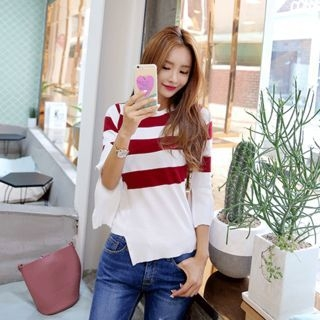 Slit-Sleeve Stripe Knit Top 1052831154