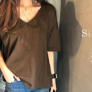 V-Neck Elbow-Sleeve T-Shirt 1063091453