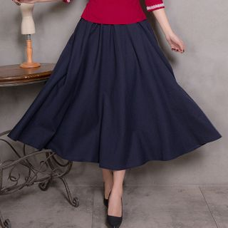 Image of A-Line Midi Skirt Navy Blue - One Size