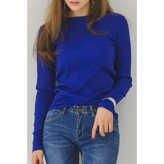 Round-Neck Ribbed Top 1057729803