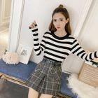Set: Striped Long-Sleeve Knit Top + Plaid A-Line Skirt 1596