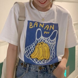 Image of Banana Print Short-Sleeve T-Shirt