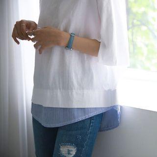 Slit-Detail Layered-Hem Cotton Top 1051031911