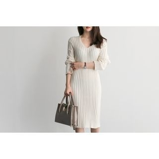 V-Neck Ribbed Knit Dress 1057516683