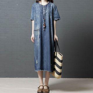 Image of Denim Short-Sleeve A-line Midi Dress