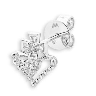 18K White Gold Diamond Claddagh Style Cross Heart Single Stud Earring (0.08cttw), Women Jewelry Gift - United states