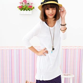 Picture of 59 Seconds 3/4-Sleeve Gathered-Hem Long Top White - One Size 1022465636 (59 Seconds Tees, Womens Tees, Hong Kong Tees, Causal Tops)
