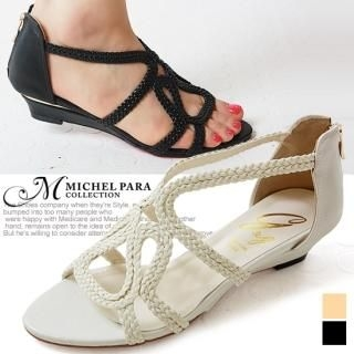 Buy MICHEL PARA COLLECTION Genuine Leather Wedge Sandals 1022938435