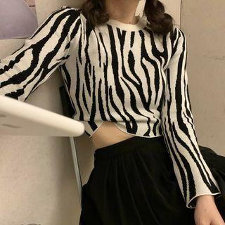 Long-sleeve | Zebra | Print | Top