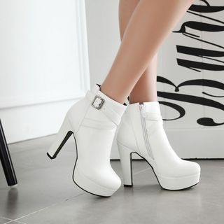 Platform Heeled Buckled Ankle Boots