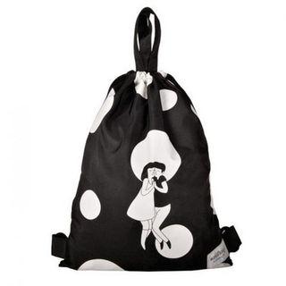 kiitos Series Drawstring Illustrated Backpack Cheek to Cheek - Black - One Size