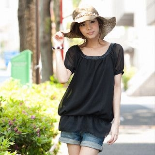 Picture of ageha@shibuya Bow-Back Chiffon Blouse Black - One Size 1022589671 (ageha@shibuya Apparel, Womens Blouses, Japan Apparel, Japan Blouses)
